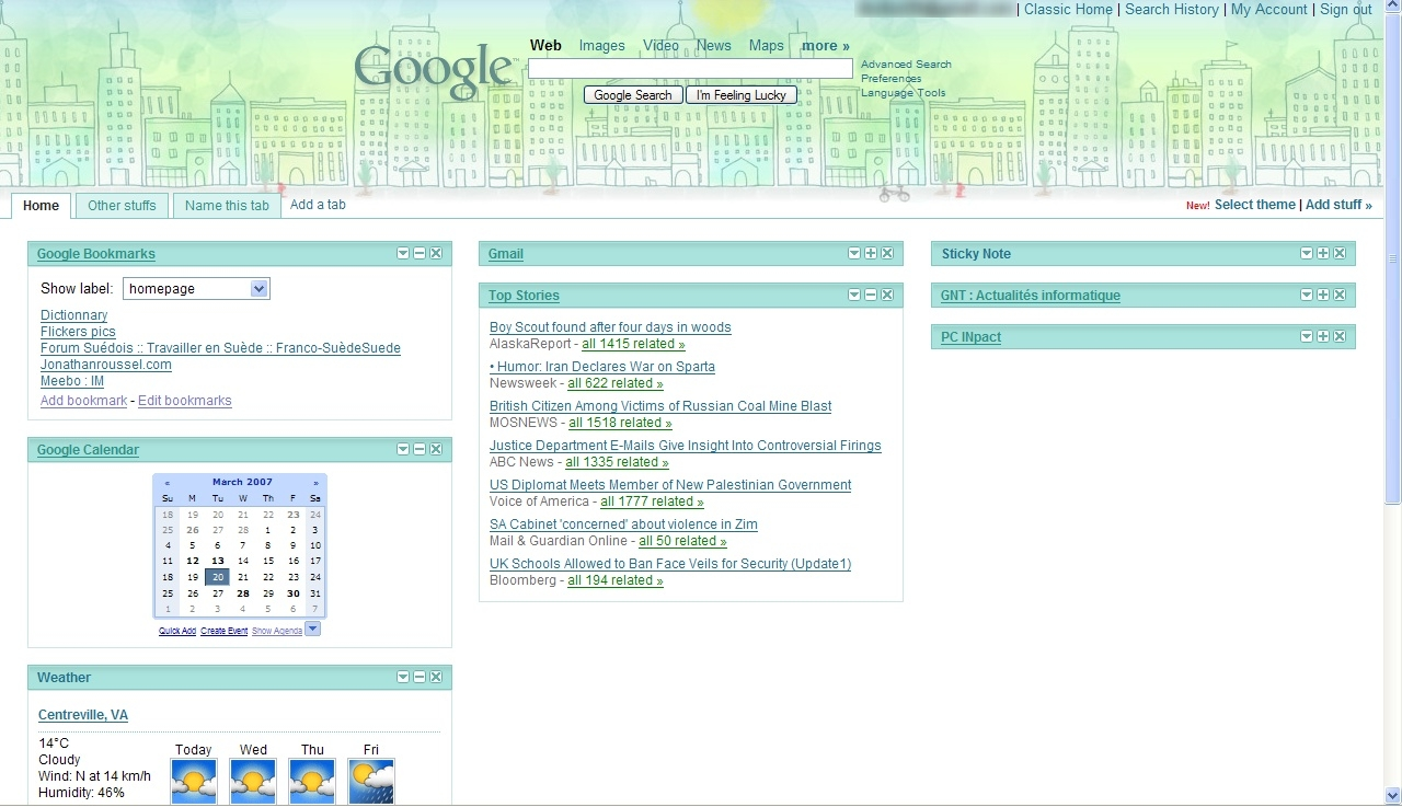 Google themes personalized homepage - For Those Of You Who Use The Personalized Google Homepage Http Www Google Com Ig You May Have Recently Noticed A New Feature